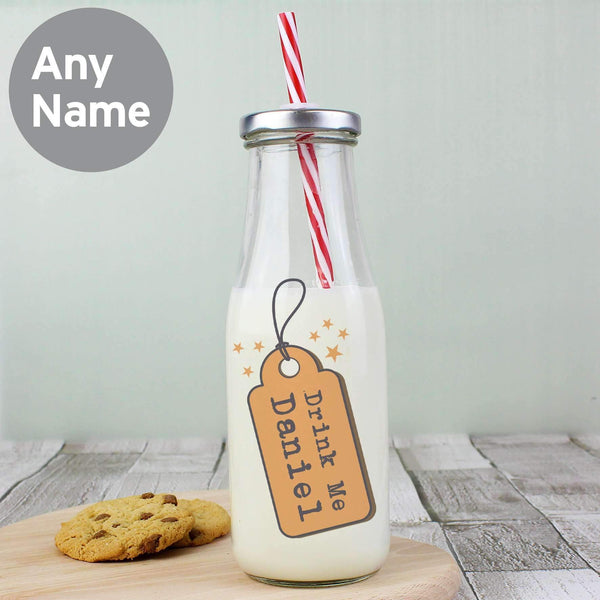 Personalised Drink Me Milk Bottle