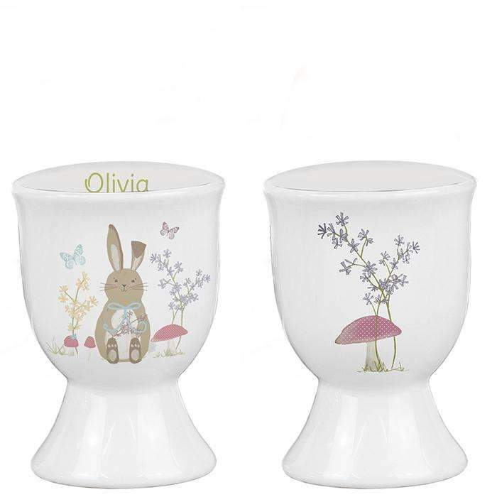 Personalised Easter Meadow Bunny Egg Cup Memento