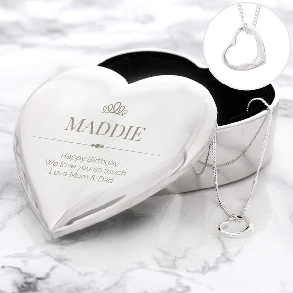 Personalised Elegant Crown Heart Trinket Box & Necklace Set