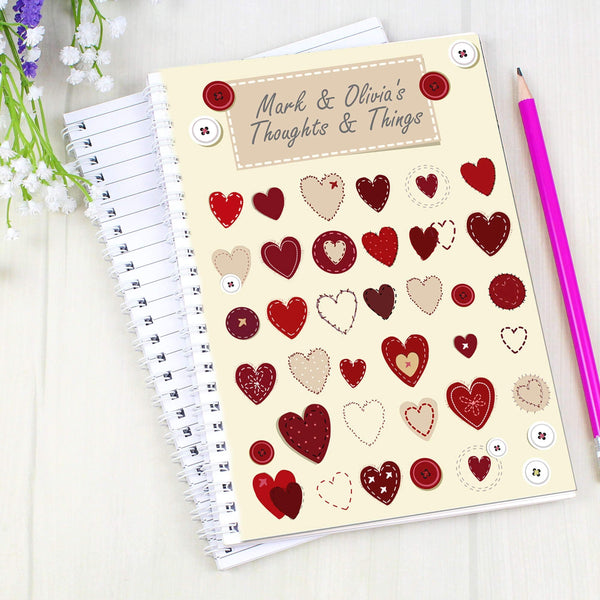 Personalised Fabric Hearts Design A5 Notebook