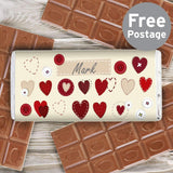 Personalised Fabric Hearts Design Milk Chocolate Bar