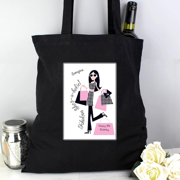 Personalised Fabulous Shopaholics Black Cotton Bag