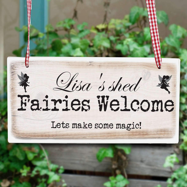 Personalised Fairies Welcome Wooden Sign