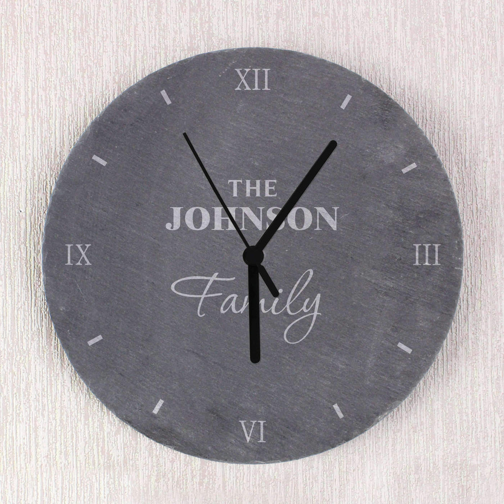 Personalised Family Slate Clock Memento