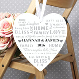 Personalised Family Typography Large Wooden Heart Decoration