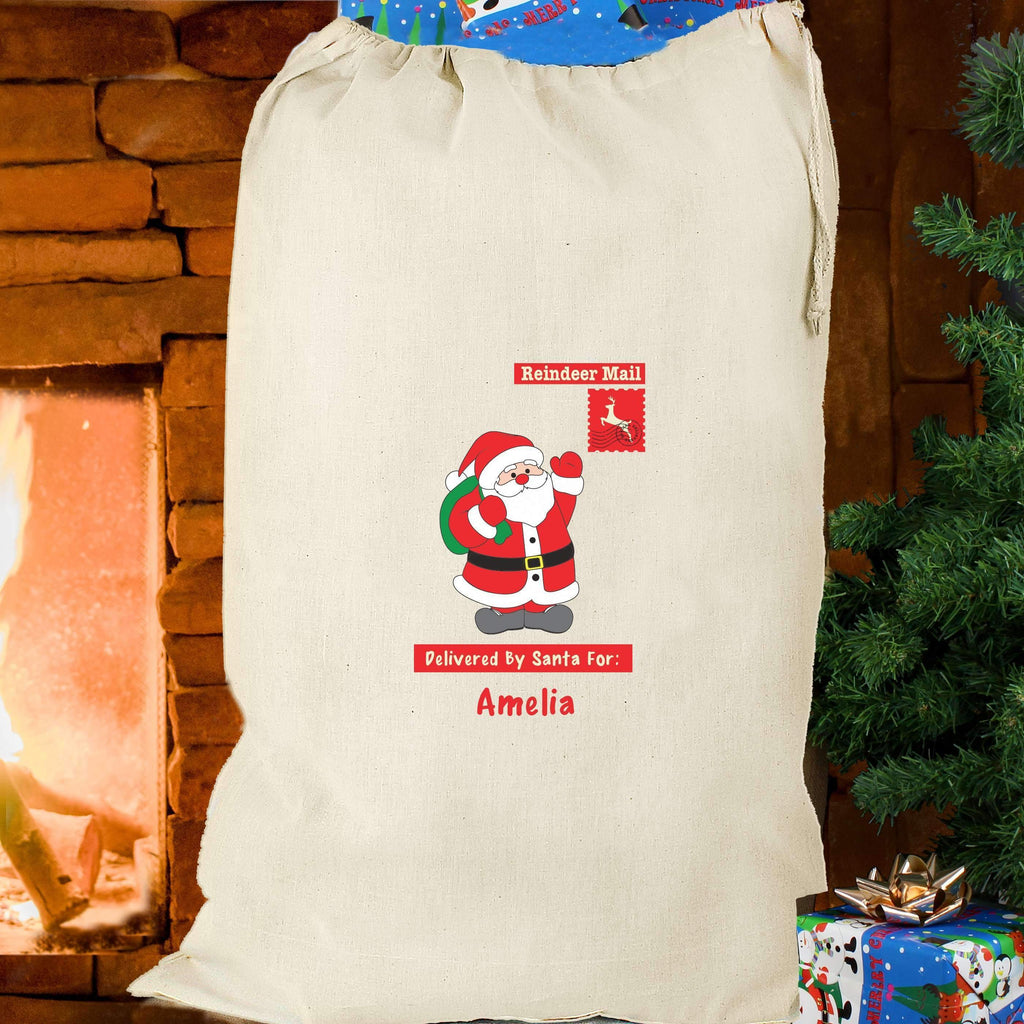 Personalised Father Christmas Cotton Sack Memento