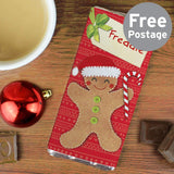 Personalised Felt Stitch Gingerbread Man Milk Chocolate Bar