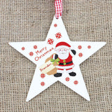 Personalised Felt Stitch Santa Wooden Star Decoration