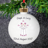 Personalised Female Same-Sex Wedding Partnership Bauble