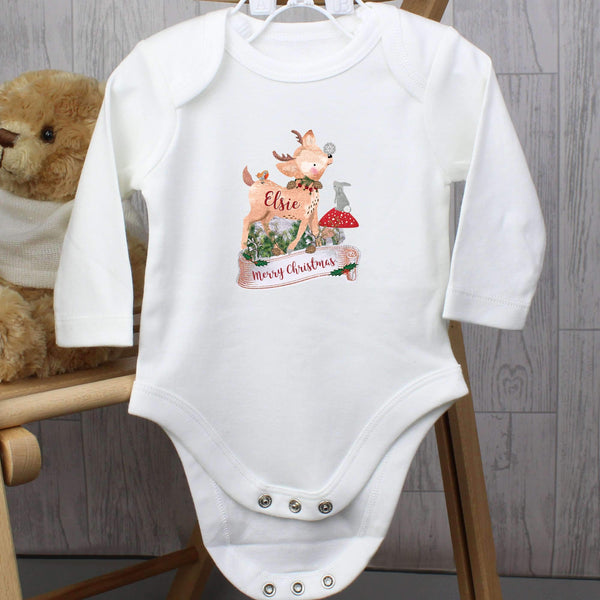 Personalised Festive Fawn 12-18 Months Long Sleeved Baby Vest