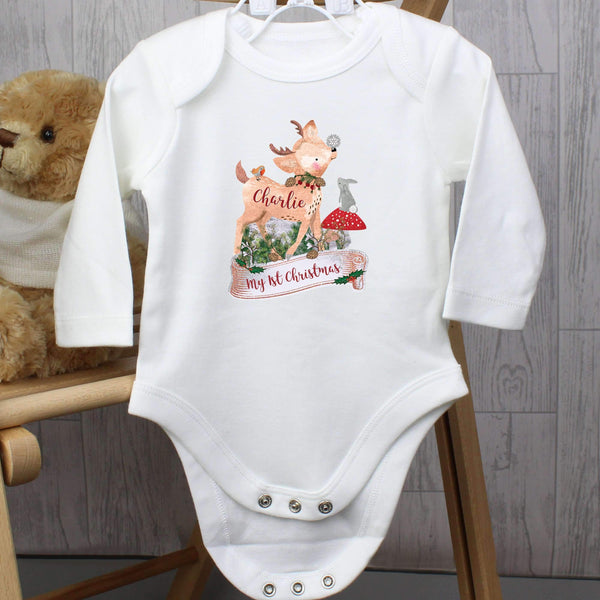 Personalised Festive Fawn 9-12 Months Long Sleeved Baby Vest
