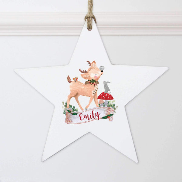 Personalised Festive Fawn Wooden Star Decoration