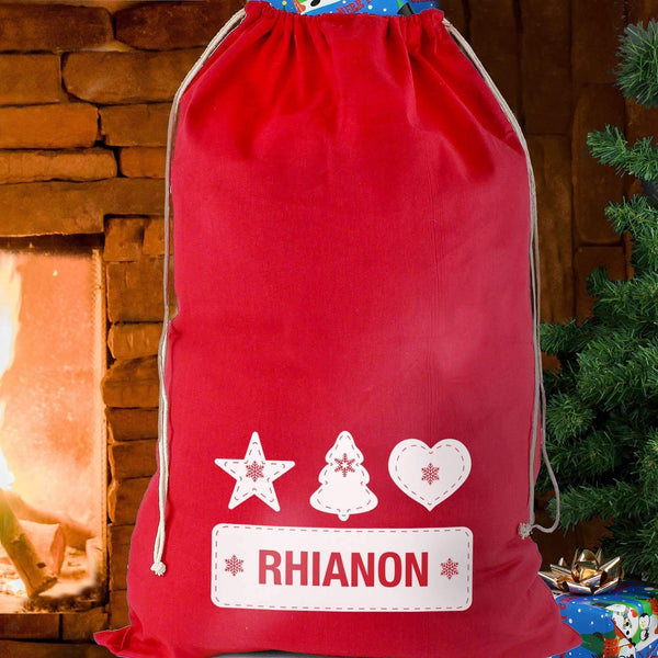 Personalised Festive Stitch Cotton Sack