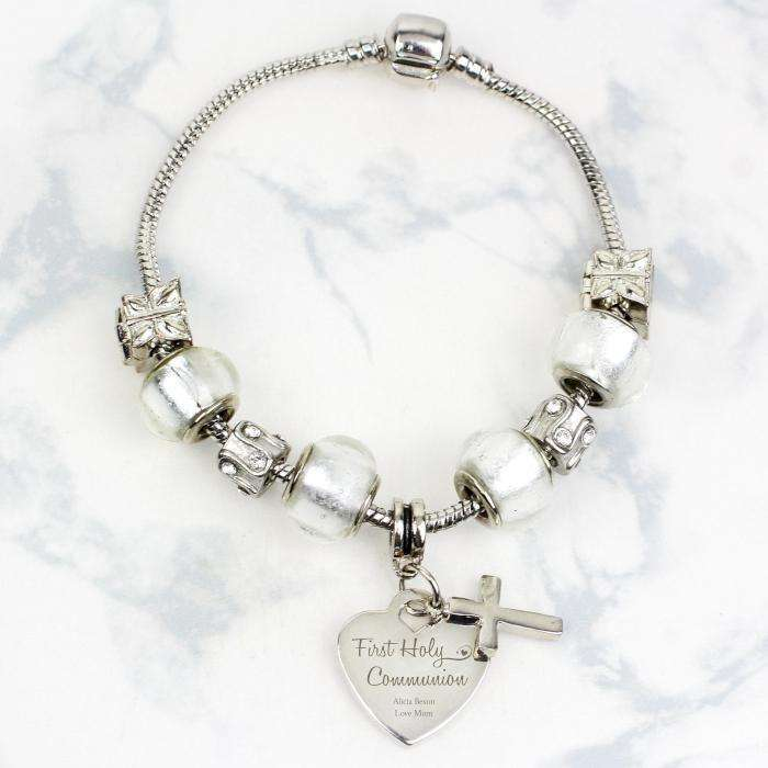 Personalised First Holy Communion Charm Bracelet - Ice White