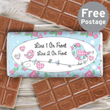 Personalised Floral Bird Milk Chocolate Bar