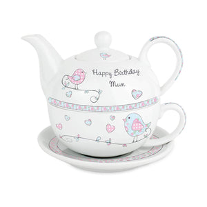 Personalised Floral Birds Tea For One