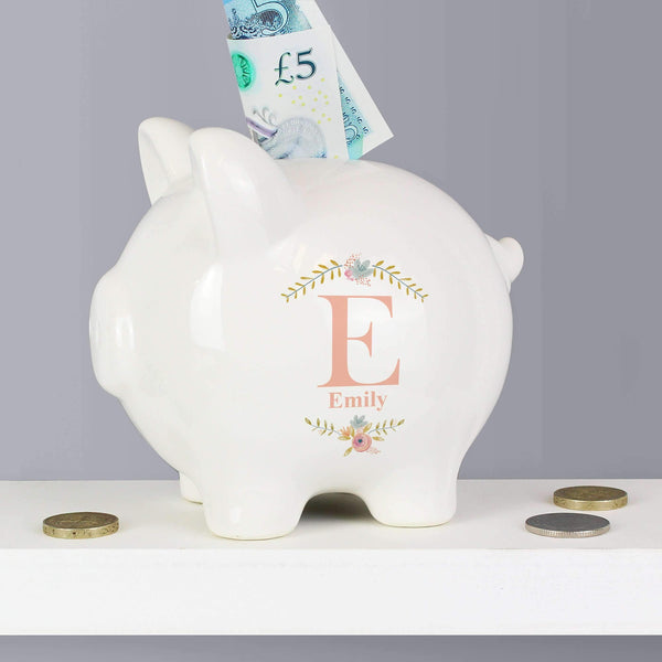 Personalised Floral Bouquet Piggy Bank