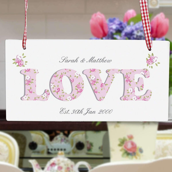 Personalised Floral Design Love Wooden Sign