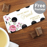 Personalised Floral Dot Milk Chocolate Bar