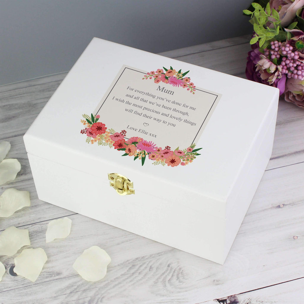 Personalised Floral Wishes White Wooden Keepsake Box Memento