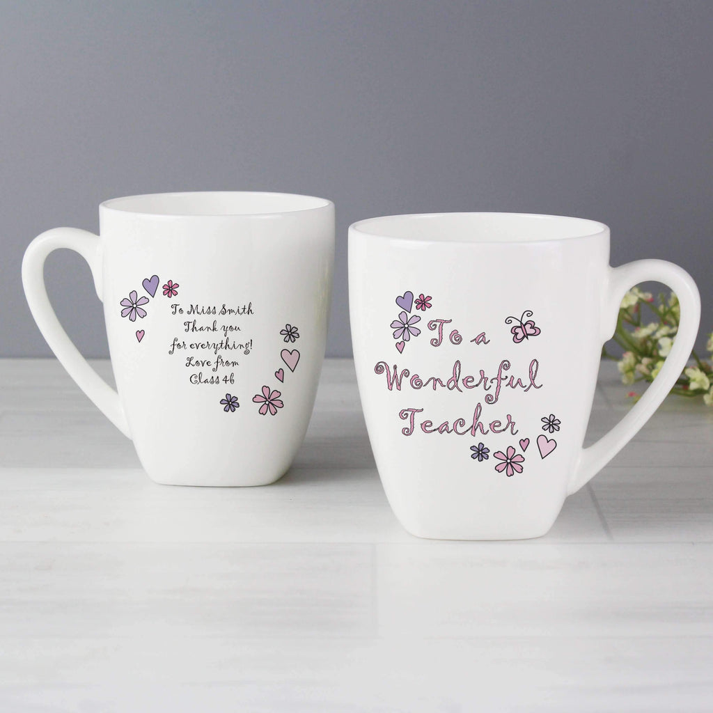 Personalised Flower & Butterflies Wonderful Teacher Latte Mug Memento