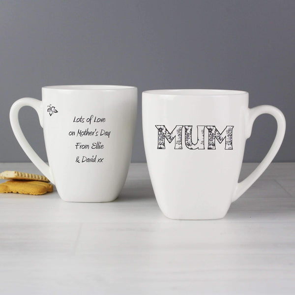 Personalised Flower Pattern Latte Mug