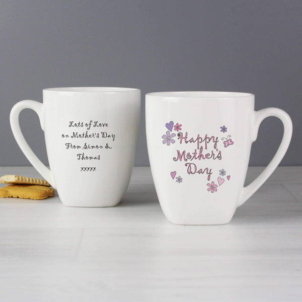Personalised Flowers and Butterflies Happy Mothers Day Latte Mug