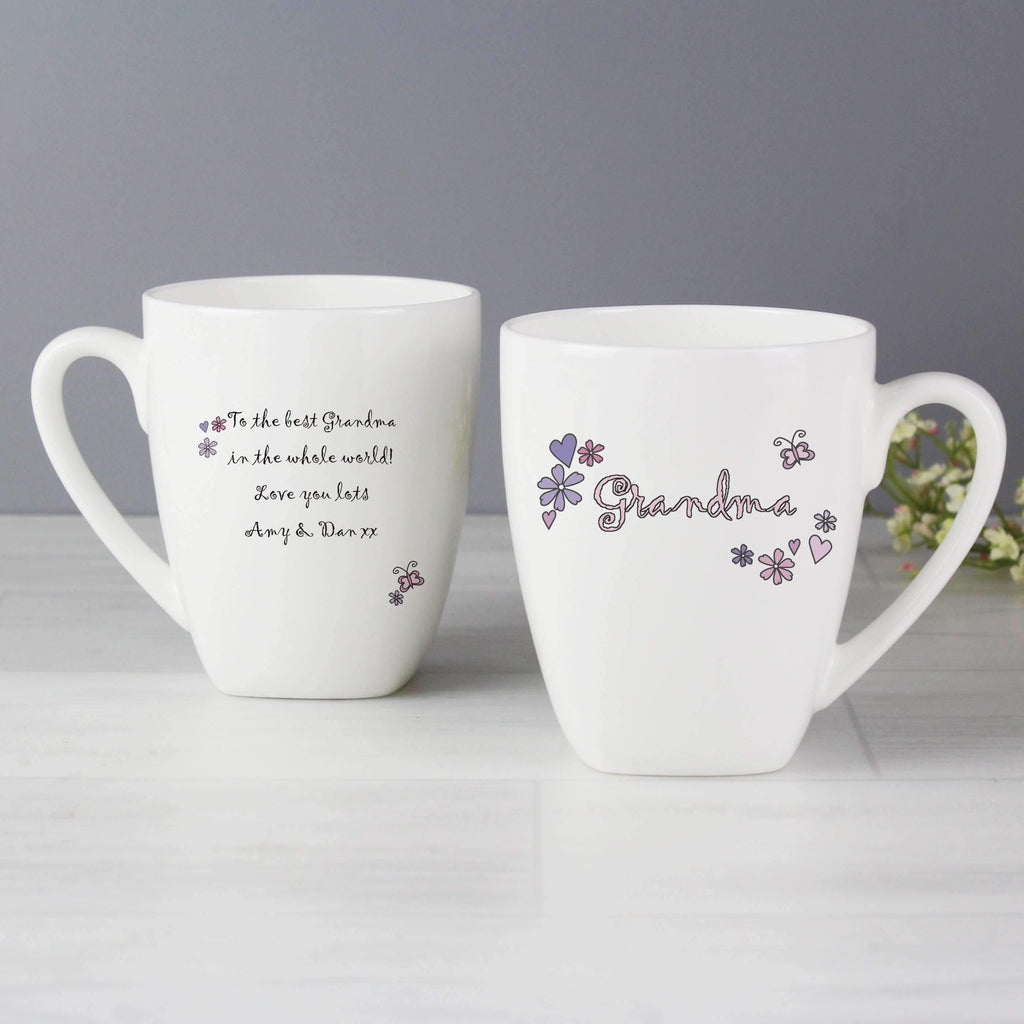 Personalised Flowers and Butterflies Name Latte Mug Memento