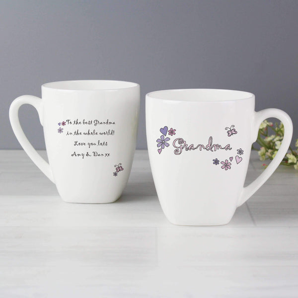 Personalised Flowers and Butterflies Name Latte Mug