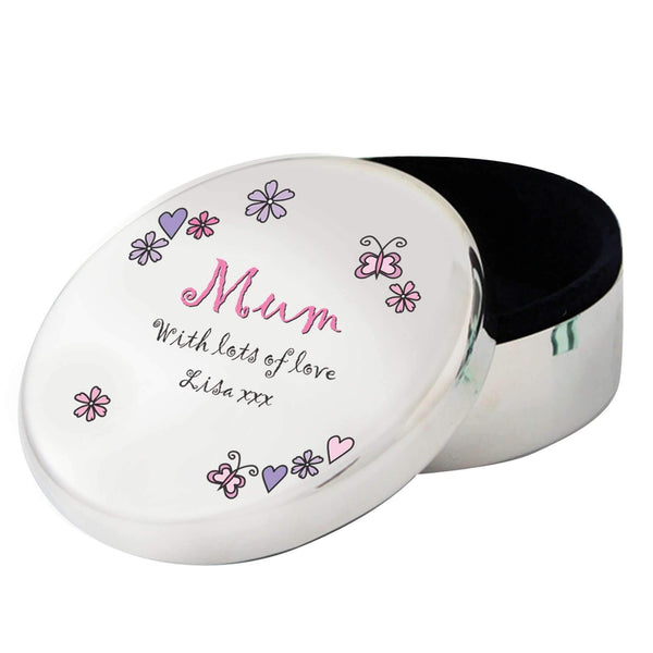 Personalised Flowers and Butterflies Round Trinket Box