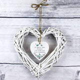 Personalised Forget Me Not Wicker Heart Decoration