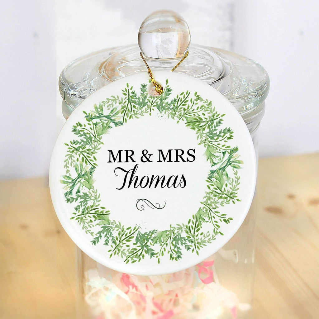 Personalised Fresh Botanical Round Ceramic Decoration Memento