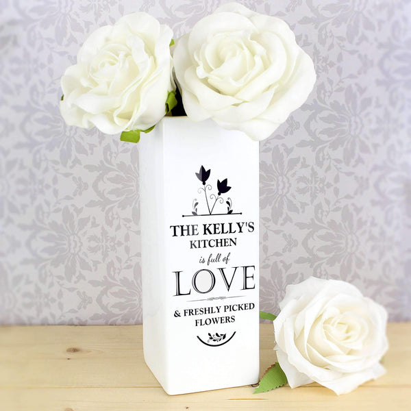 Personalised Full of Love White Square Vase