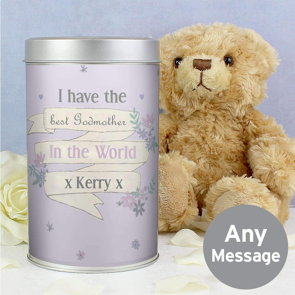 Personalised Garden Bloom Teddy in a Tin