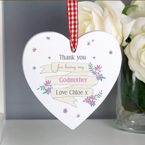 Personalised Garden Bloom Wooden Heart Decoration