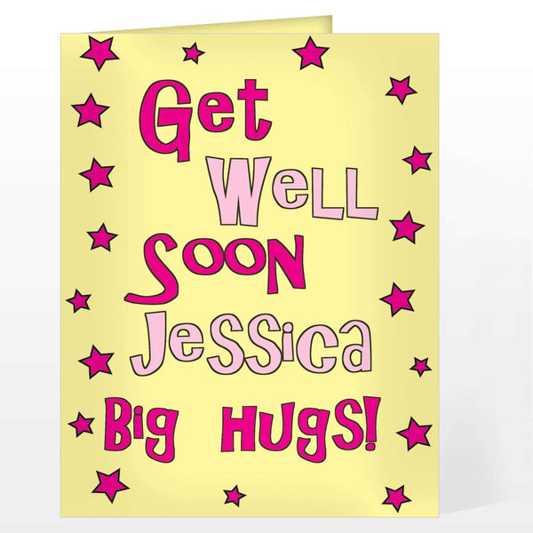 Personalised Get Well Pink Stars Card