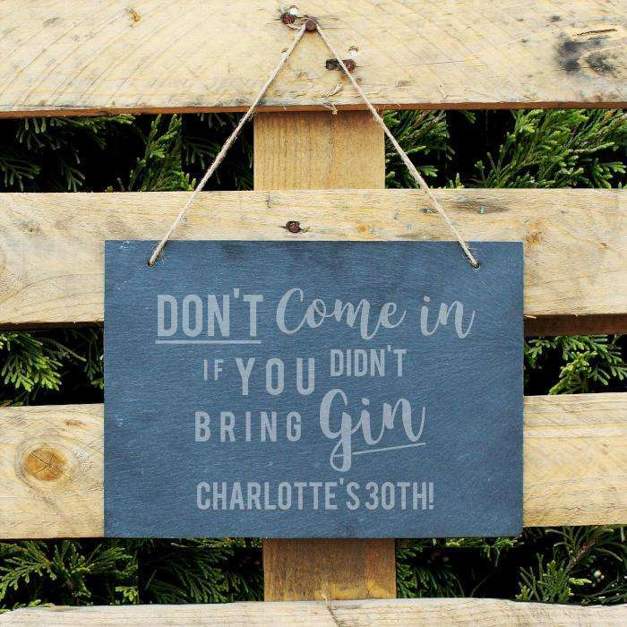 Personalised Gin Large Hanging Slate Sign Sign Memento