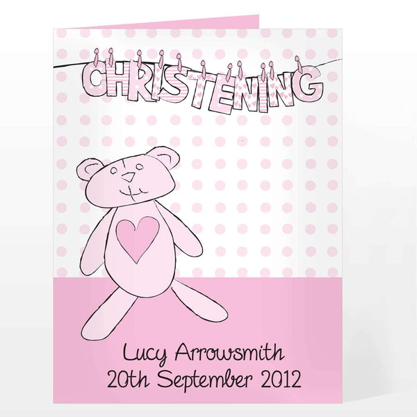 Personalised Girl Christening W Line Card