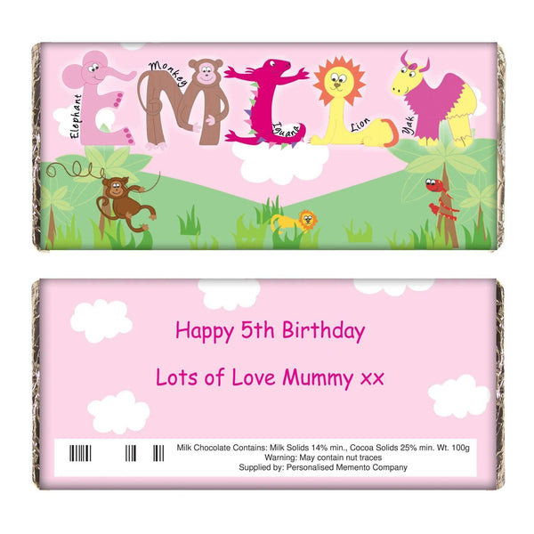 Personalised Girls Animal Alphabet Milk Chocolate Bar