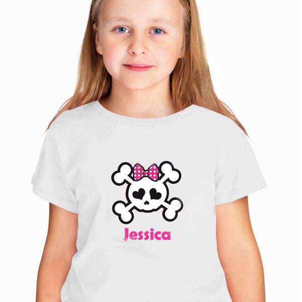 Personalised Girls Skull & Cross Bone Tshirt 7-8 years