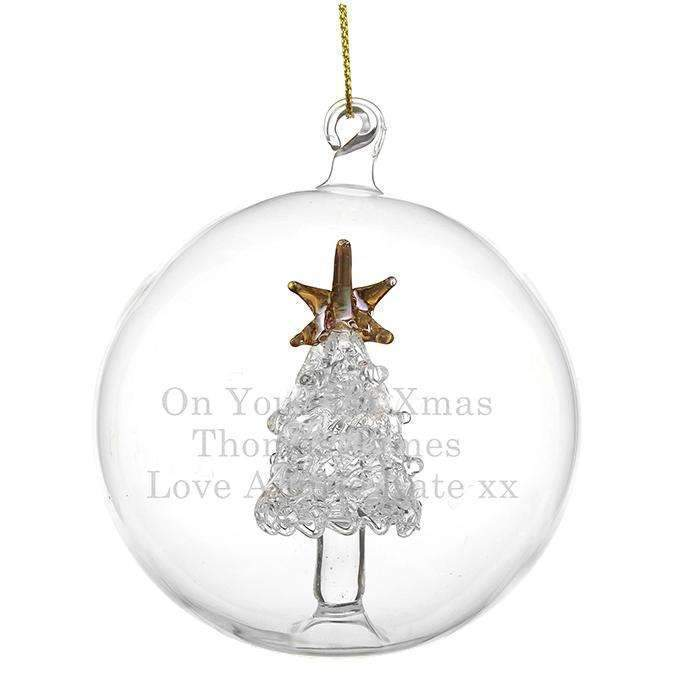 Personalised Glass Christmas Tree Bauble Memento