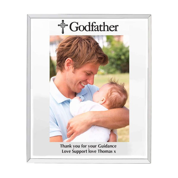 Personalised Godfather Mirrored Glass 5x7 Photo Frame