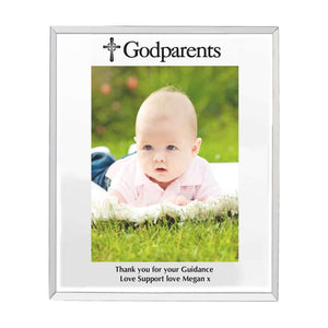 Personalised Godparents Mirrored Glass 5x7 Photo Frame