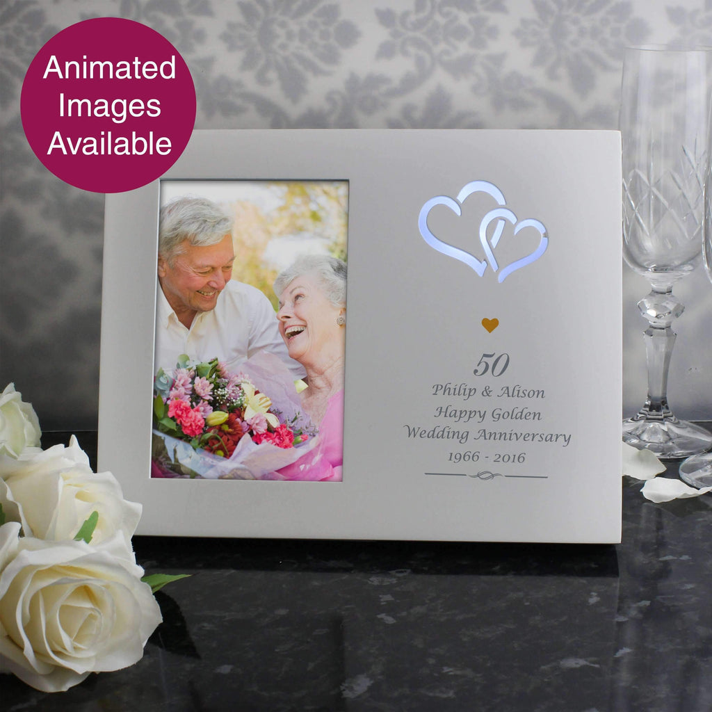 Personalised Gold Hearts 4x6 Light Up Frame Memento