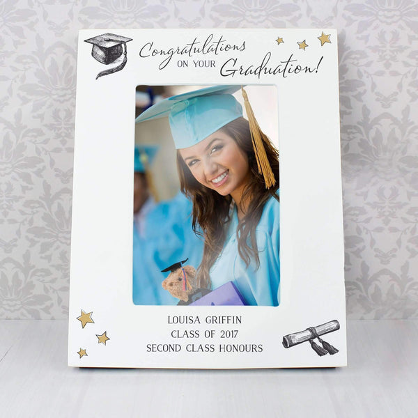 Personalised Gold Star Graduation 4x6 White Wooden Photo Frame