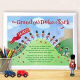 Personalised Grand Old Duke of York Poster Frame