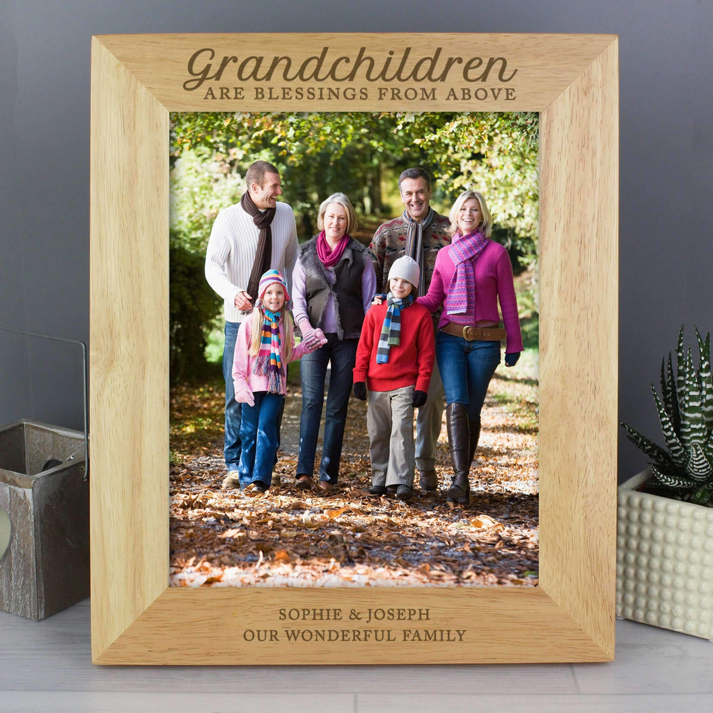 Personalised 'Grandchildren are a Blessing' 8x10 Wooden Photo Frame Memento