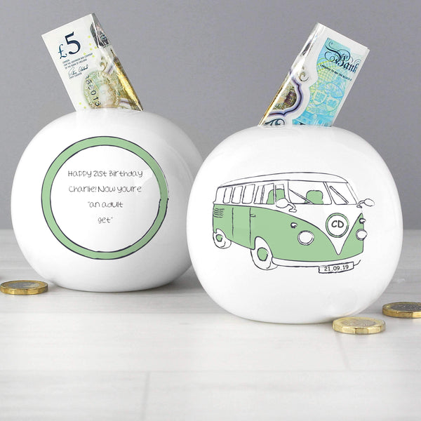 Personalised Green Campervan Money Box