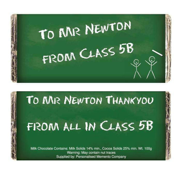 Personalised Green Chalk Board Milk Chocolate Bar
