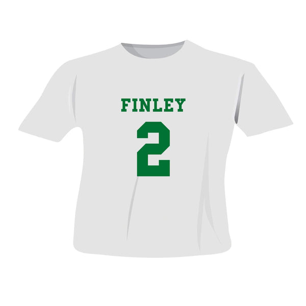 Personalised Green Name & Number T-shirt 2-3 Years